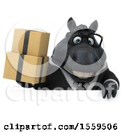 3d Chubby Black Business Horse Holding Boxes On A White Background