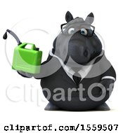 3d Chubby Black Business Horse Holding A Gas Can On A White Background