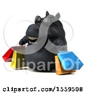 Poster, Art Print Of 3d Chubby Black Horse Carrying Shopping Bags On A White Background