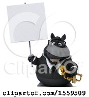 Poster, Art Print Of 3d Chubby Black Business Horse Holding A Trumpet On A White Background