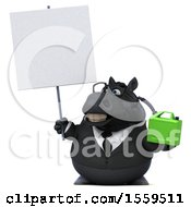 Poster, Art Print Of 3d Chubby Black Business Horse Holding A Gas Can On A White Background