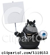 3d Chubby Black Business Horse Holding An Eyeball On A White Background