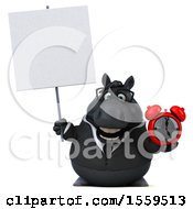 Poster, Art Print Of 3d Chubby Black Business Horse Holding An Alarm Clock On A White Background