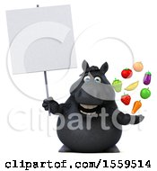Poster, Art Print Of 3d Chubby Black Horse Holding Produce On A White Background