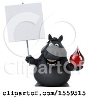 3d Chubby Black Horse Holding A Blood Drop On A White Background