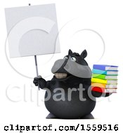 3d Chubby Black Horse Holding Books On A White Background
