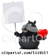 3d Chubby Black Horse Holding A Heart On A White Background