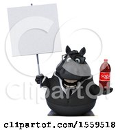 April 19th, 2018: Clipart Of A 3d Chubby Black Business Horse Holding A Soda On A White Background Royalty Free Illustration by Julos