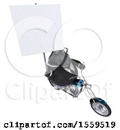 Poster, Art Print Of 3d Chubby Black Business Horse Biker Riding A Chopper Motorcycle On A White Background