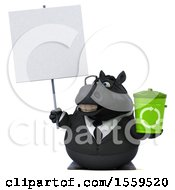 April 19th, 2018: Clipart Of A 3d Chubby Black Business Horse Holding A Recycle Bin On A White Background Royalty Free Illustration by Julos