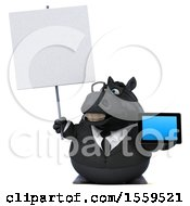 3d Chubby Black Business Horse Holding A Tablet On A White Background