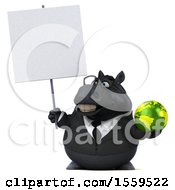 3d Chubby Black Business Horse Holding A Globe On A White Background
