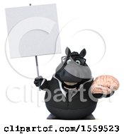 Poster, Art Print Of 3d Chubby Black Business Horse Holding A Brain On A White Background