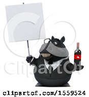 3d Chubby Black Business Horse Holding Wine On A White Background