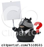3d Chubby Black Business Horse Holding A Question Mark On A White Background