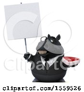 Poster, Art Print Of 3d Chubby Black Business Horse Holding A Steak On A White Background