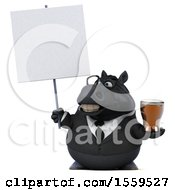 3d Chubby Black Business Horse Holding A Beer On A White Background