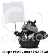 Poster, Art Print Of 3d Chubby Black Business Horse Holding A Camera On A White Background