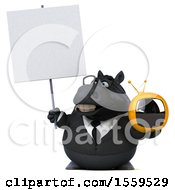 3d Chubby Black Business Horse Holding A Tv On A White Background