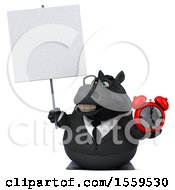 3d Chubby Black Business Horse Holding An Alarm Clock On A White Background