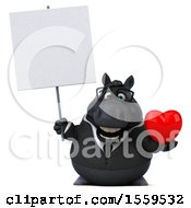 April 19th, 2018: Clipart Of A 3d Chubby Black Business Horse Holding A Heart On A White Background Royalty Free Illustration by Julos