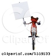 Poster, Art Print Of 3d Red Frog Biker Riding A Chopper Motorcycle On A White Background