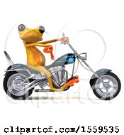 Poster, Art Print Of 3d Yellow Frog Biker Riding A Chopper Motorcycle On A White Background