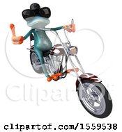 Poster, Art Print Of 3d Blue Frog Biker Riding A Motorcycle Chopper On A White Background