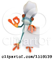 3d Blue Frog Chef Holding A Menu On A White Background