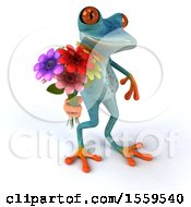 3d Blue Frog Holding Flowers On A White Background