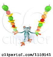 3d Blue Frog Holding Fruit On A White Background