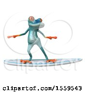 3d Blue Frog Surfing On A White Background