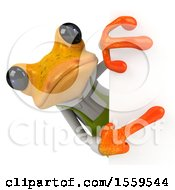 3d Yellow Frog Gardener On A White Background