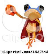 3d Yellow Frog Super Hero Flying On A White Background