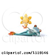 3d Blue Frog Holding A Sun On A White Background