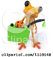 3d Yellow Frog Holding A Gas Can On A White Background
