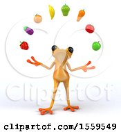 Poster, Art Print Of 3d Yellow Frog Juggling Produce On A White Background