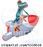 3d Blue Frog Flying On A Rocket On A White Background