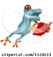 3d Blue Frog Holding A Book On A White Background