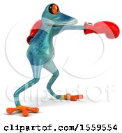 3d Blue Frog Boxing On A White Background