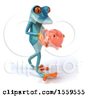 Poster, Art Print Of 3d Blue Frog Holding A Piggy Bank On A White Background