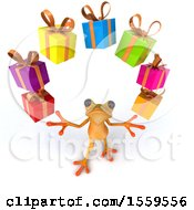 3d Yellow Frog Juggling Gifts On A White Background