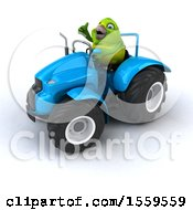 3d Green Bird Operating A Tractor On A White Background