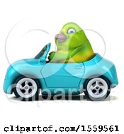 3d Green Bird Driving A Convertible On A White Background