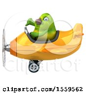3d Green Bird Flying A Plane On A White Background