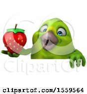 3d Green Bird Holding A Strawberry On A White Background