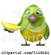 3d Green Bird Holding A Banana On A White Background