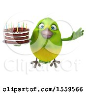 Poster, Art Print Of 3d Green Bird Holding A Birthday Cake On A White Background