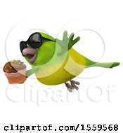 3d Green Bird Holding A Cupcake On A White Background