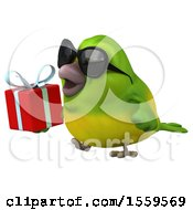 3d Green Bird Holding A Gift On A White Background